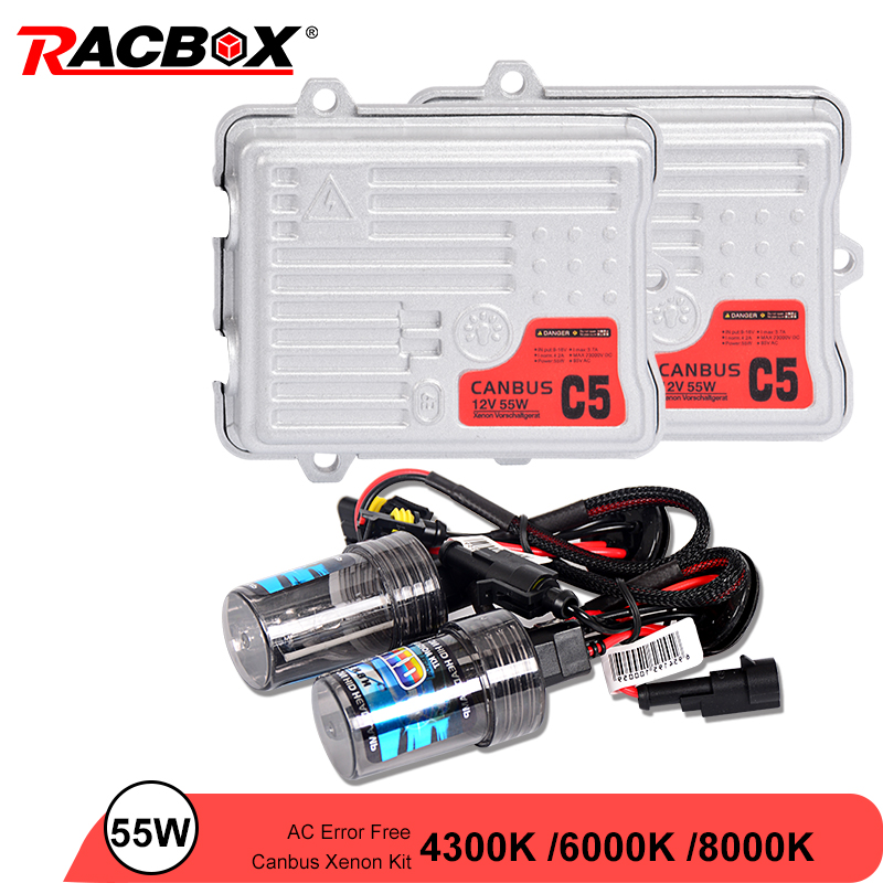 55W AC Canbus Ballast HID Bulb Car Xenon Headlight Retrofit Conversion Kit H1 H3 H7 H11