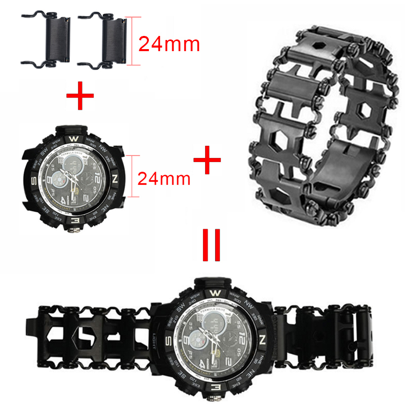 Creative 29in1 Stainless Steel Multifunction Bracelet Wristband Screwdriver Bottle Opener Outdoor Survival Emergency Tools_36