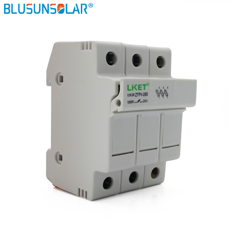 10 piece lot wholesale DC 1000V 20A 3 pole DIN Rail Mount fuse holder for solar