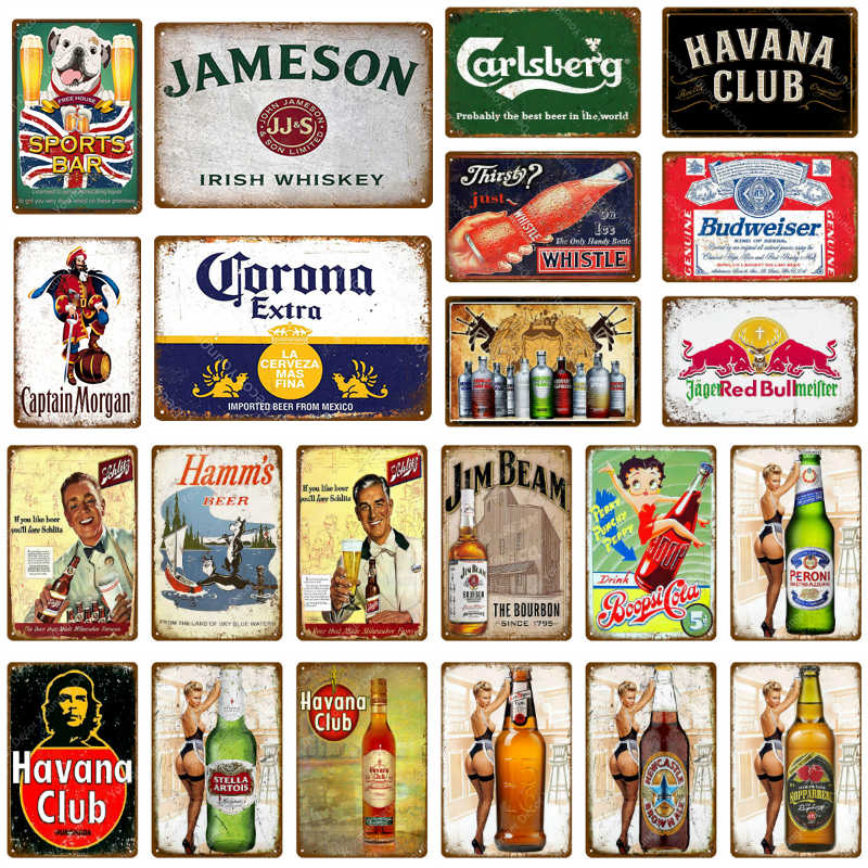 Sports Bar Decor Whiskey Beer Metal Tin Signs Pub Bar Cafe Club Decoration Wall Stickers Art Painting Iron Poster Vintage Plaque