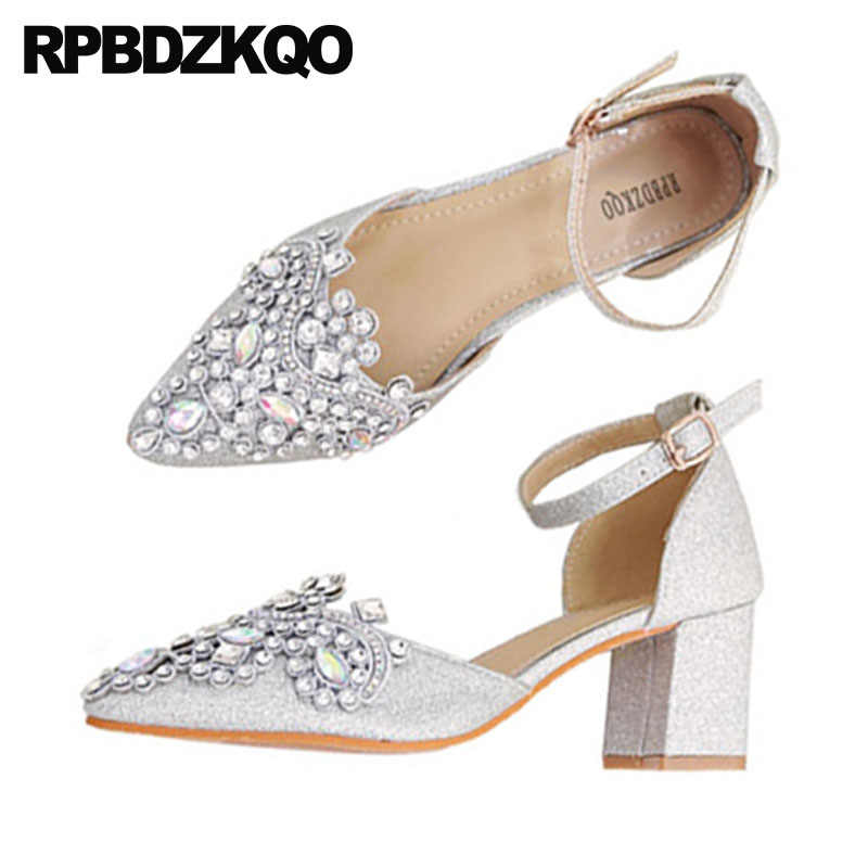 c305964790594 ... big size ankle strap women sandals pointed toe 33 glitter thick silver  party diamond low heels ...