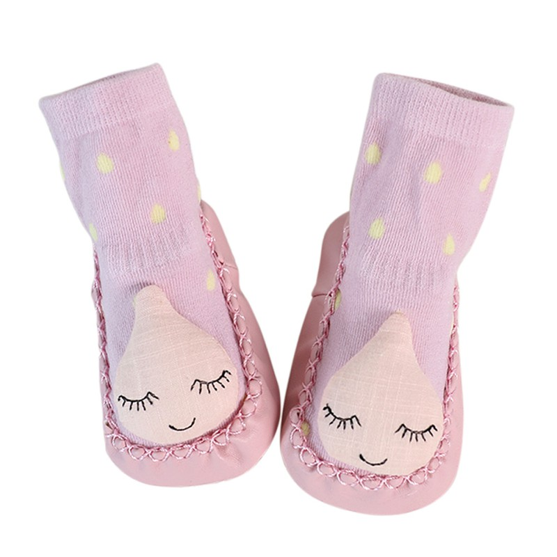 Spring Autum Baby Shoes Newborn Boys Girls Sock Style PU Leather Cotton Anti-Slip Moccasins Cartoon First Walkers