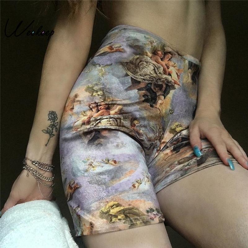 Weekeep Fashion Shorts Angel-Print Elastic Streetwear Feminino High-Waist Summer Women