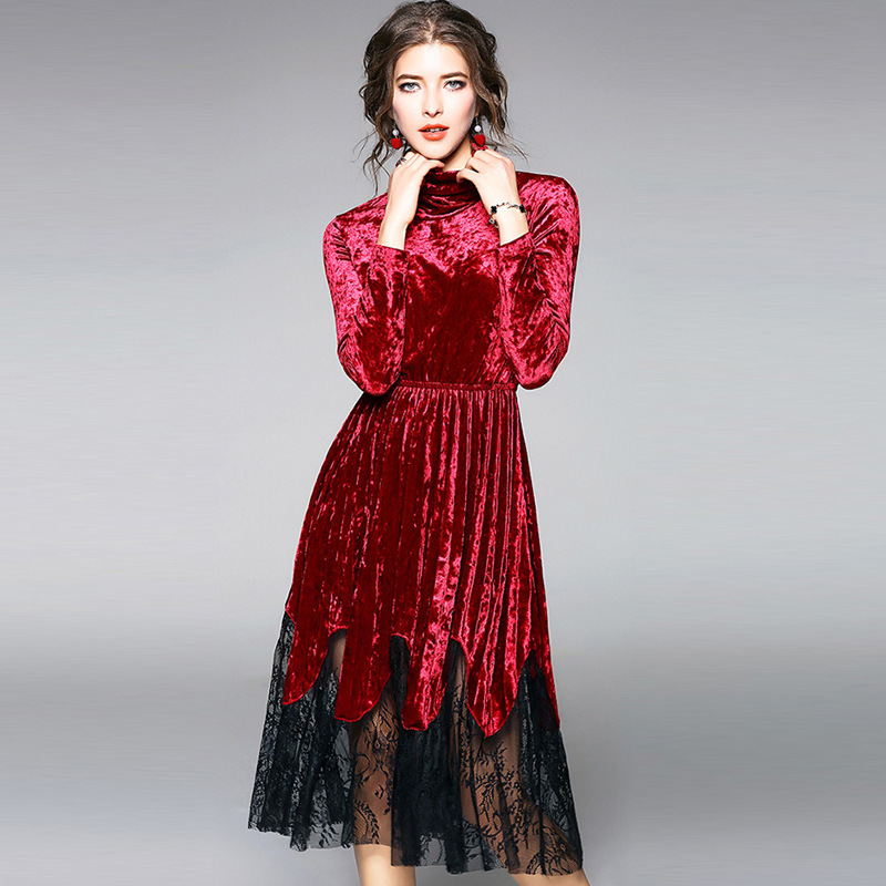09934bd2f8 Spring women velvet dress bohemian style long sleeve lace slim party dress  Turtleneck Knee Length long dresses puffy sleeve-in Dresses from Women s  Clothing ...