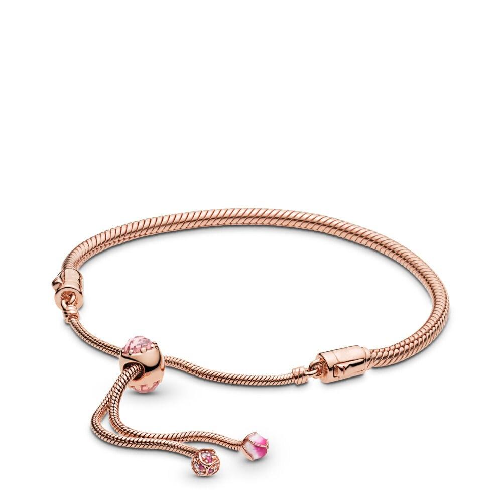 2019 nouveau 925 en argent Sterling Bracelets breloques Rose or fleur de pêche pour les femmes fête mariage Fit bricolage perles breloque