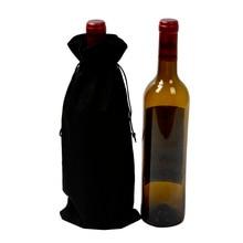 1000pcs Rustic Jute Wine Bag Vintage Hessian Burlap Drawstring Gift Bottle Bags For Red Wrap Packaging Wholesale