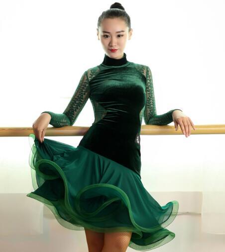 sleeveless latin Rumba cha cha salsa tango dance dress S-XXL dark green black flannel velvet