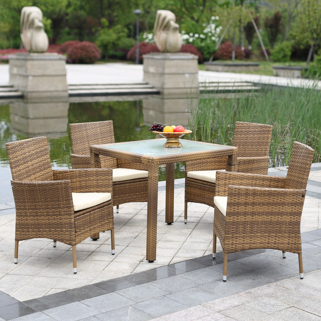 Online Shop IKayaa US Stock 5PCS Wicker Rattan Outdoor Dinning Table Chair  Set Cushioned Garden Patio Furniture Set For Home | Aliexpress Mobile
