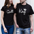Himanjie moda casual negro blanco mujeres letter print t-shirt punk estilo de manga corta de verano tee shirt femme rey y la reina