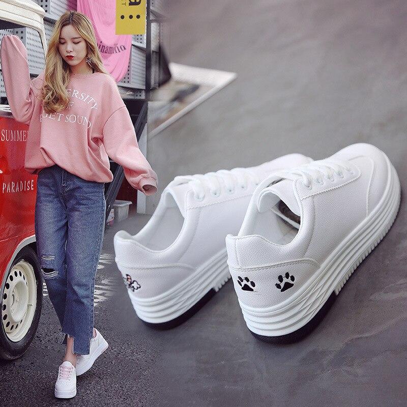 Lzzf 2018 Fashion Casual Leather Shoes Woman Kovaj Animal White Sneakers Flat 3CM Heels Platform Shoes Women Tenis Zapatos Mujer
