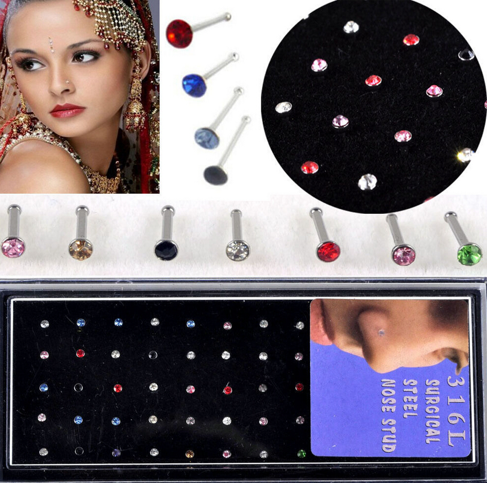 imixlot 2016 Real Rhinestone Round Trendy Hot Wholesale Mix 60pcs Body Jewelry Lots 316l Surgical Steel Earring Nose Studs