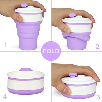 Creative Telescopic Folding Silicone Coffee Cup Outdoor Activities Portable Anti-hot Insulation Water Cup Tourism Folding Cups