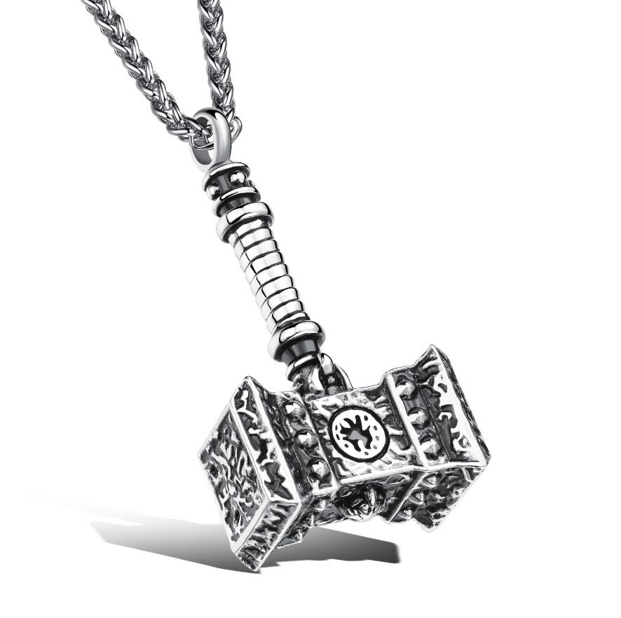Vintage 316L Stainless Steel Thor/'s Hammer Necklace Pendant Men/'s Jewelry Charm