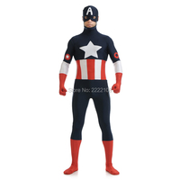 2016 Cheap Captain America Costume Men Spandex Close Fit Black Captain America Superhero Cosplay Party Zentai