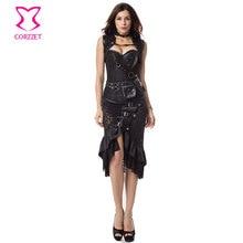 2017 Espartilhos E Bustiers Sexy Espartilho Gótico Preto Vintage Vestido Roupas Femininas Plus Size Trajes Burlesque Vitoriana Steampunk