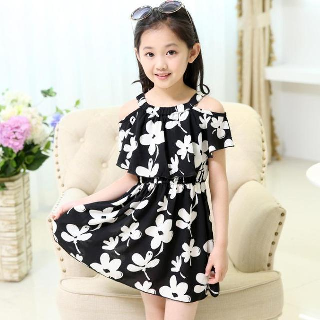 2017 summer new children clothing dress little girls fashion 2017 summer new children clothing dress little girls fashion strapless chiffon black white flower elastic waist mightylinksfo