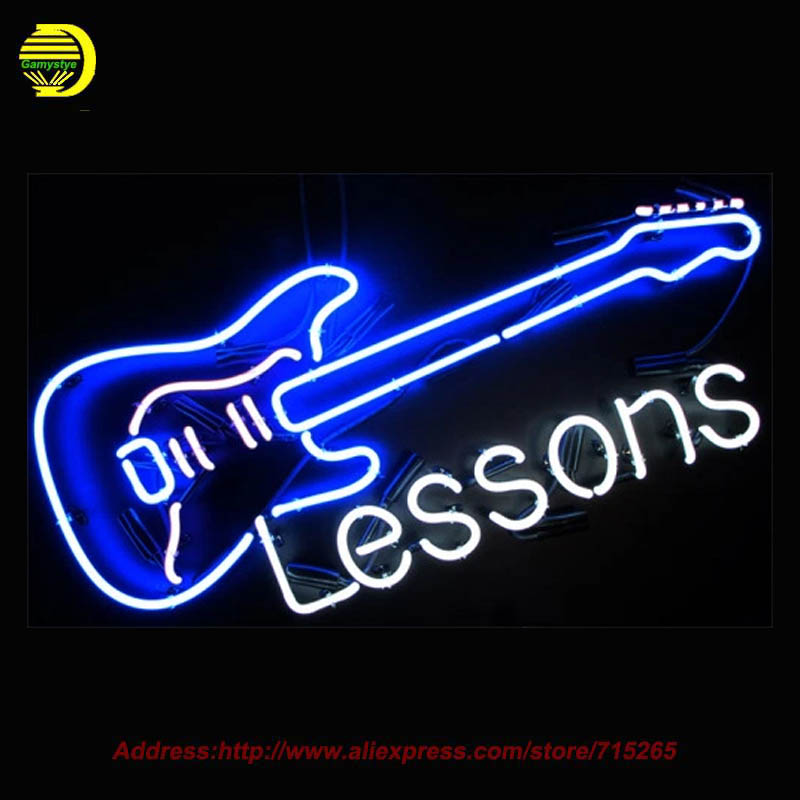 Neon Sign Taylor Guitar Lessons Store Display Handcrafted Neon Signs Glass Tube Advertise Neon Pub Signs Neon Publicidad 19x15