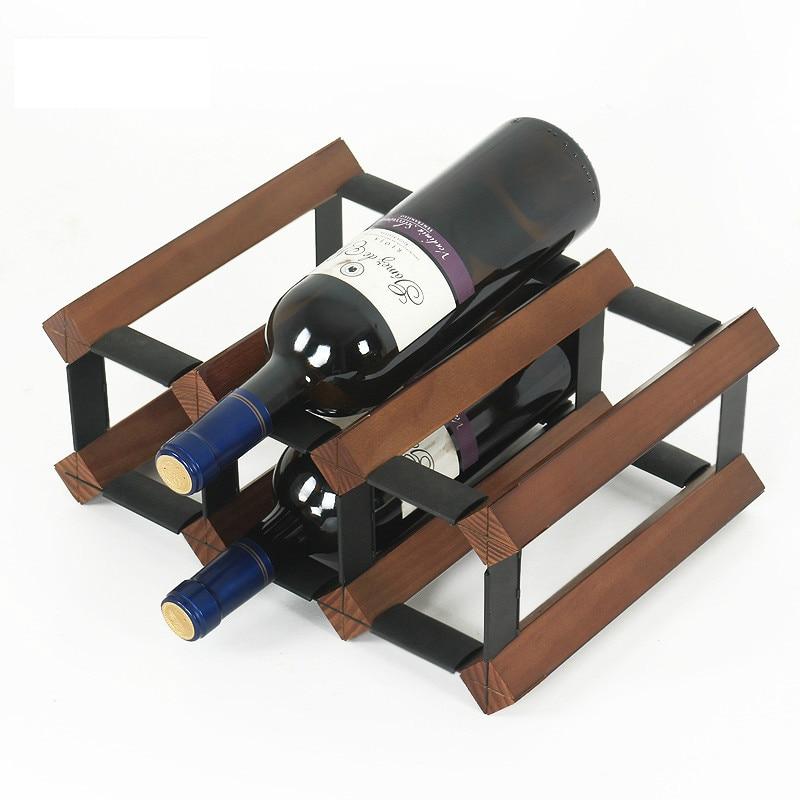 Household Texture Pine Wood Wine Rack Decoration Creative Wine Cabinet Restaurant Free Installation Bar Grape Wine Holder Stand