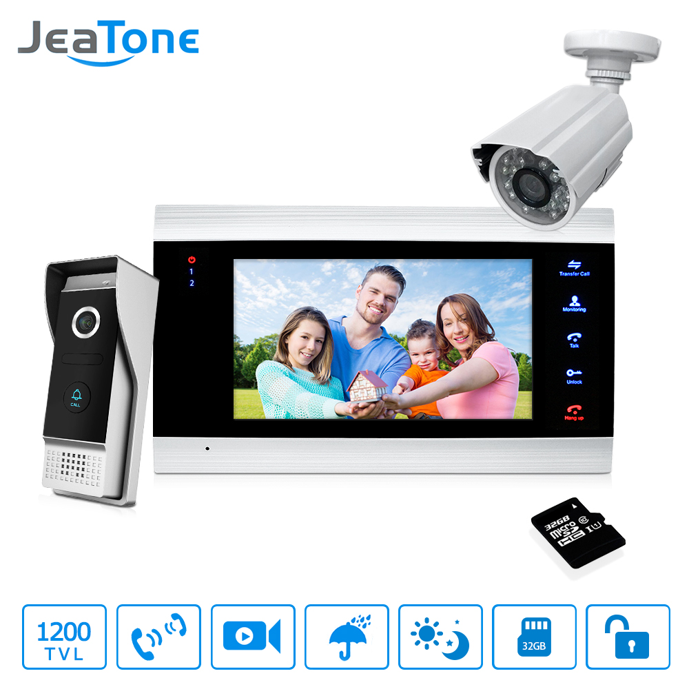 7'' Video Door Phone Doorbell Intercom Access Control Intercom System Motion Detection +Extra 1200TVL Outdoor Camera + 32G Card jeatone 7 inch video door phone video intercom 1200tvl outdoor call panel 1200tvl analog camera access control system doorbell