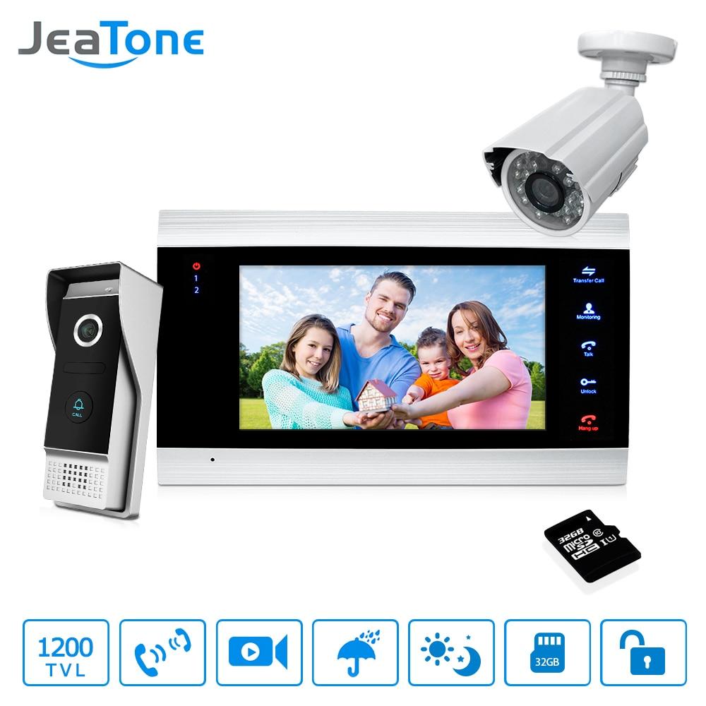 7'' Video Door Phone Doorbell Intercom Access Control Intercom System Motion Detection +Extra 1200TVL Outdoor Camera + 32G Card