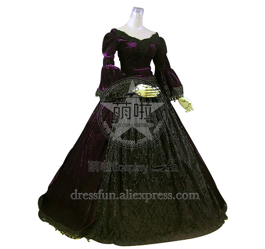Victorian Lolita Reenactment Period Velvet Lace Gothic Lolita Dress With Lace And Off The Shoulder Elegant For Halloween Party