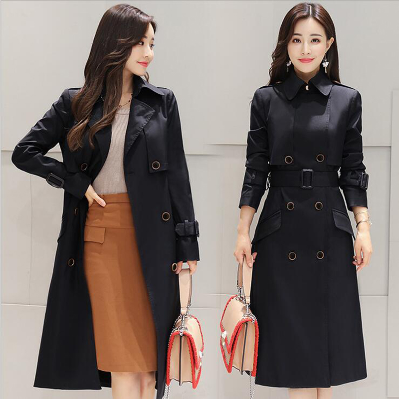 2019 new brand hot spring autumn overcoats women's   trench   coats long sleeve fashion turn-down collar overwear clothing M-2XL 45