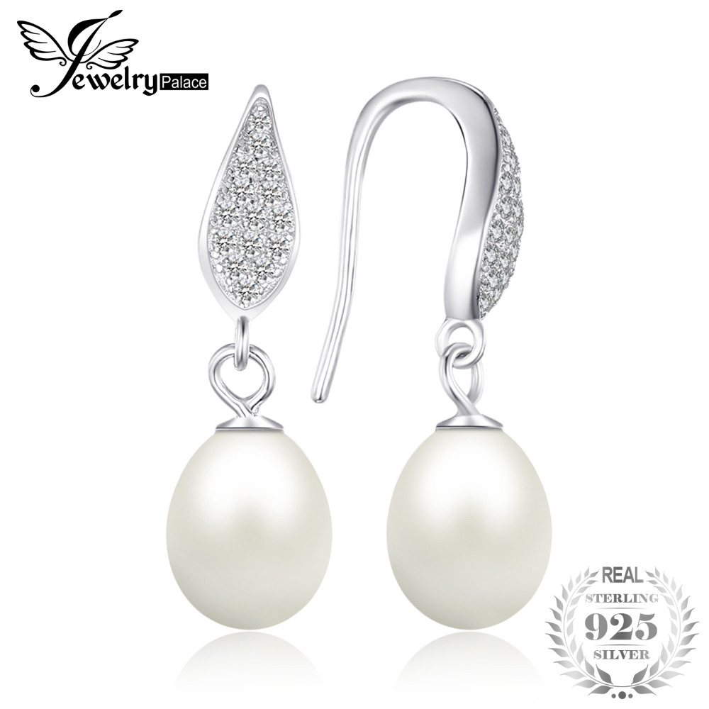 JewelryPalace  925 Sterling Silver Freshwater Cultured 8-9mm White Pearl Dangle Earrings Statement Fine Jewelry for WomenJewelryPalace  925 Sterling Silver Freshwater Cultured 8-9mm White Pearl Dangle Earrings Statement Fine Jewelry for Women