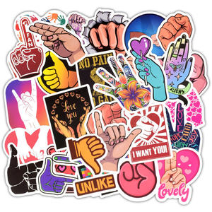 Image 2 - 50Pcs Ins Style Gestures Sticker Funny Finger Hand Sign Decals Waterproof Laptop Skin Sticker DIY on Luggage Car Phone Computer