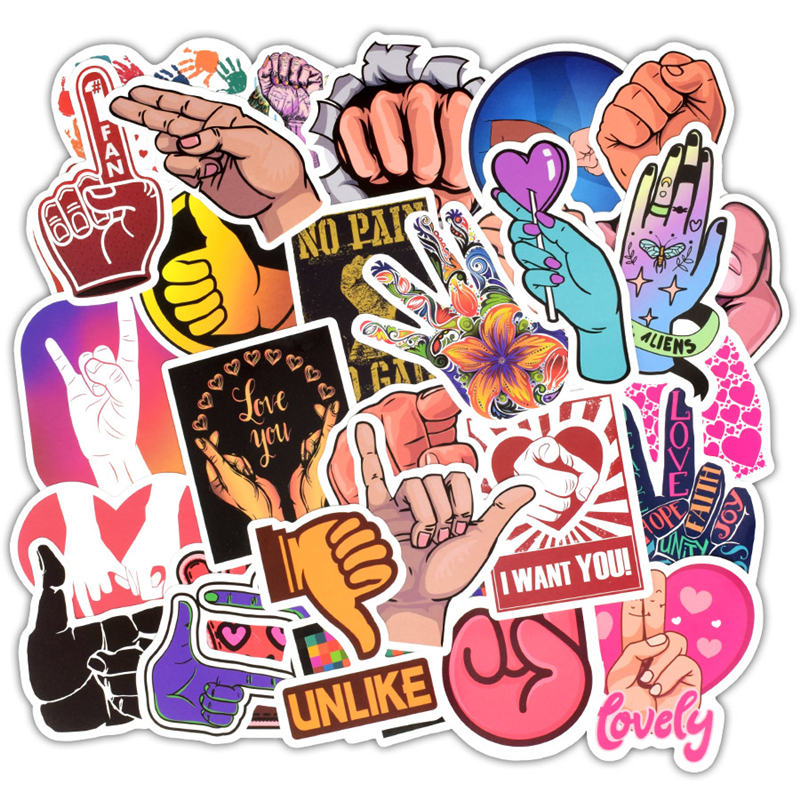 Image 2 - 50Pcs Love You Finger Gestures Sticker Decoration Waterproof Vinyl Laptop Skin Sticker For Moto Car&Suitcase Computer Stickers-in Laptop Skins from Computer & Office