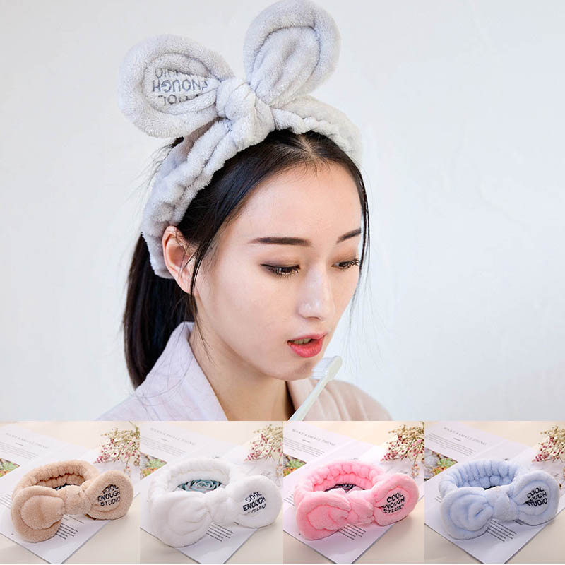 Cute Bunny Ears Headband Girl Bow Elastic Hair Bands Wash Face Headwear  Women Makeup Coral Headband Women's Hair Accessories