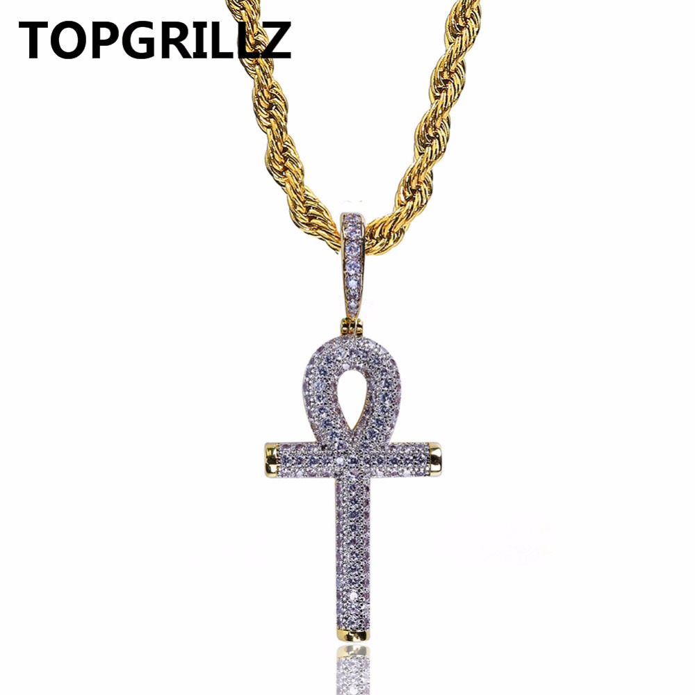 TOPGRILLZ Hip Hop Rock Necklace Gold Color All Iced Out Micro Pave CZ Stone Ankh Cross Pendant Necklaces With 60cm Rope Chain