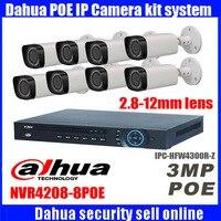 Оригинал Dahua IPC HFW4300R Z 2.8 мм ~ 12 мм переменным фокусным расстоянием IP камеры комплект 3MP NVR4208 8P POE камеры видеонаблюдения комплект