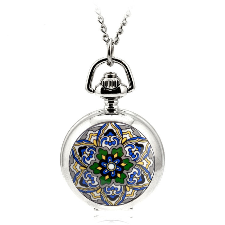 A119 Ceative Silver Quartz Pocket Fob Watch Necklace Pendant Relogio De Bolso Women Pendant Necklace Five-pointed Star