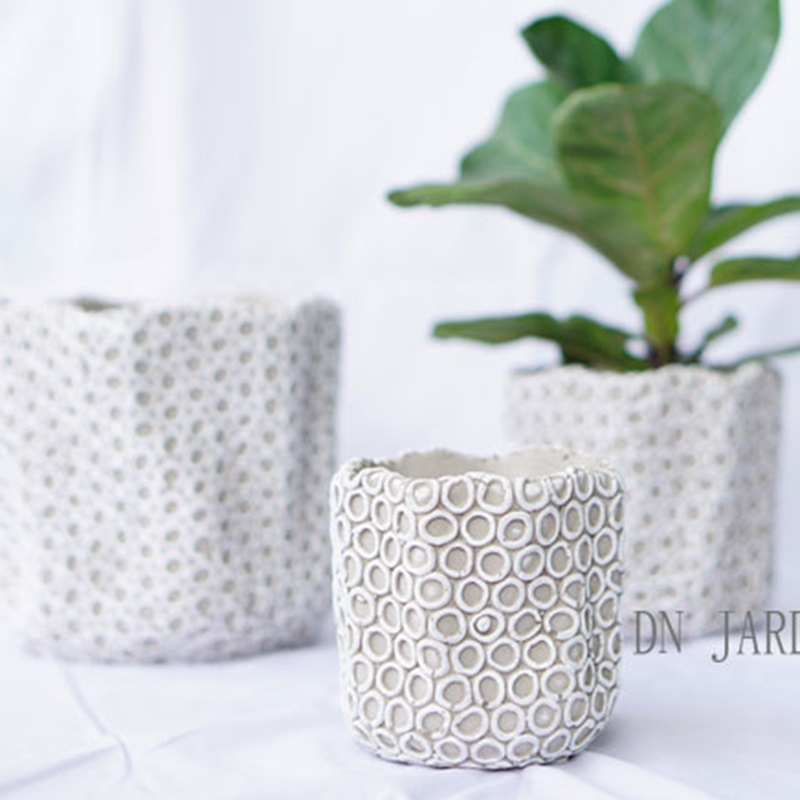 Small circle of cement flower pot mold indoor living room decoration hand made silicone mold