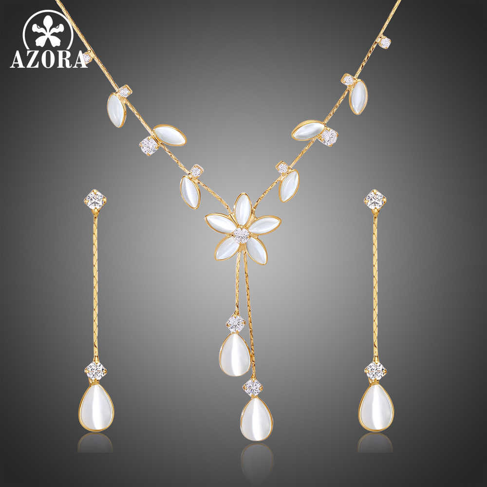 AZORA Cat's Eye Stone Flower Jewelry Sets Leaves Design With Clear Cubic Zirconia Party Necklace Earrings Set TG0256