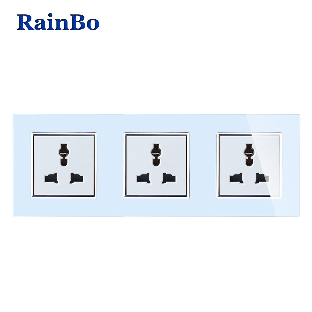 RainBo Brand Universal Standard Power 3-hole Multi-function Socket Glass Panel AC Wall Power Three plug Socket A38MU8MU8MUW/B