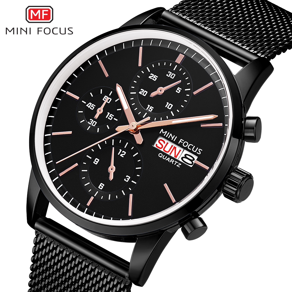 MINIFOCUS Mens Watches Top Brand Luxury Men Quartz Watch Stainless Steel Watchband Business Calendar Wristwatch Male Clock didun mens watches top brand luxury watches men steel quartz brand watches men business watch luminous wristwatch water resist