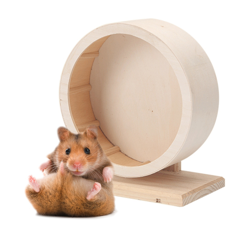 Petacc Pet Wooden Exercise Wheel Mute Hamster Running Wheel Eco-friendly Pet Toy Wheel Suitable for Hamsters