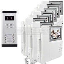 """DIYSECUR 4.3 """"Monitor HD Apartamento Video de La Puerta Sistema de Teléfono Video Del Timbre Del Intercomunicador 700 Tecla Táctil de la Cámara del IR para 8 Familias"""