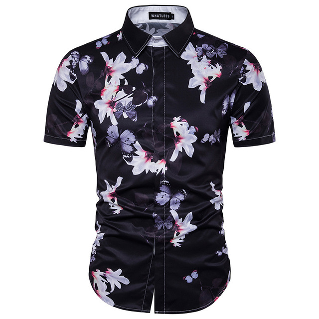 New floral print character design men shirts pointed collar short new floral print character design men shirts pointed collar short sleeve shirt casual flower black white mightylinksfo