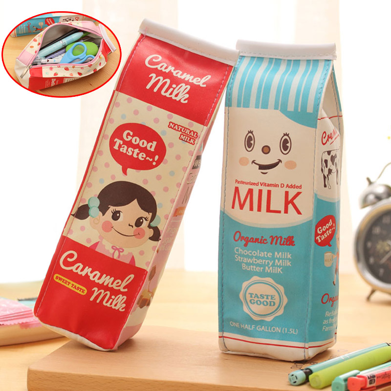 New Simulation Of Milk Cartons Pencil Case PU Pen Bag Kawaii Stationery Pouch Office School Supplies