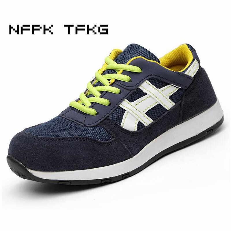 Couvre-orteils en acier respirant de grande taille pour hommes chaussures d'été de sécurité de travail plate-forme anti-perçage outillage bottes de sécurité déodorant homme