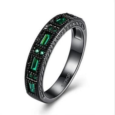 Latest Design wedding rinf band black rhodium color jet hematite AAA zircon baguette green black gold midi ring