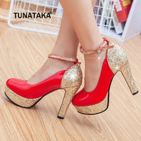Women Platform Chunky High Heel Pumps Fashion Buckle Round Toe Party Wedding Shoes White Black Red