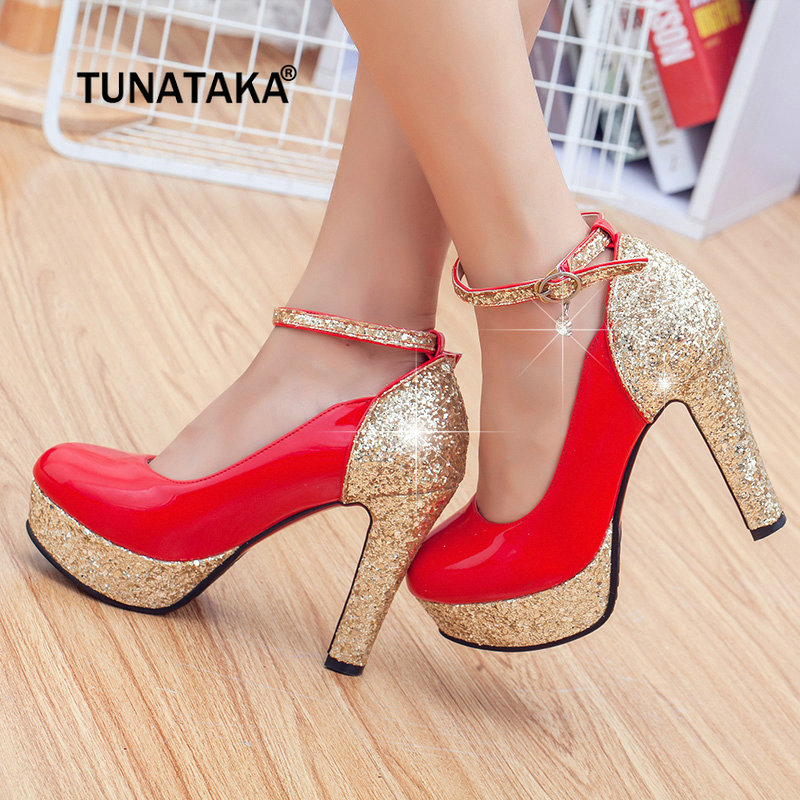 цена на Women Platform Chunky High Heel Pumps Fashion Buckle Round Toe Party Wedding Shoes White Black Red