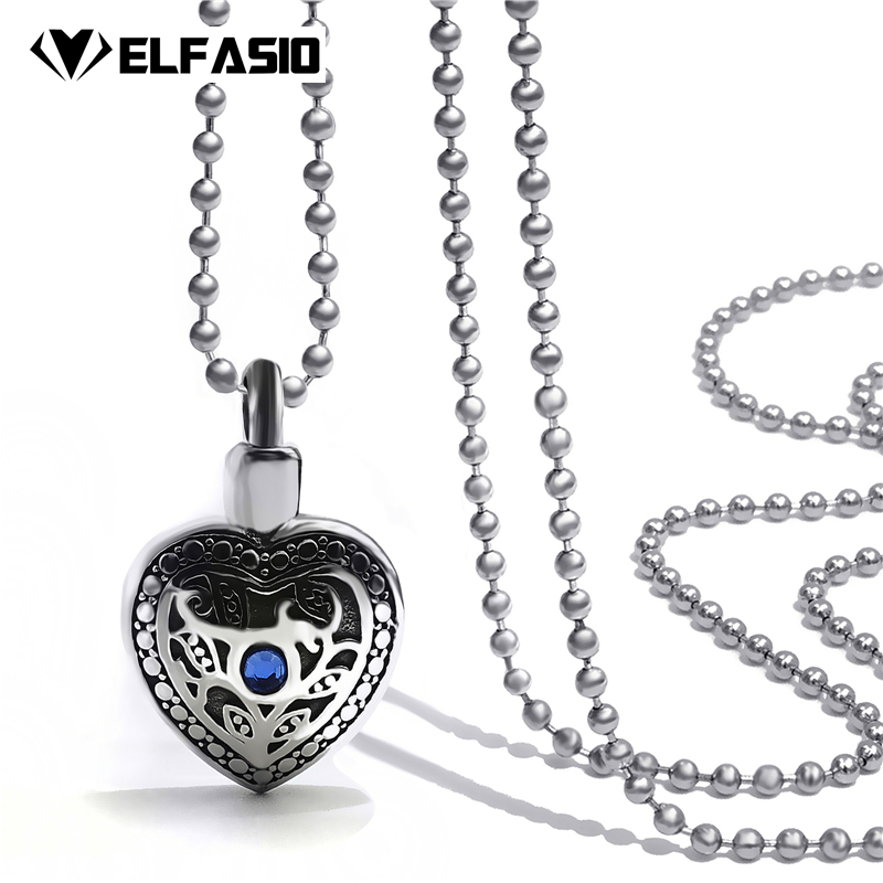 Women s Heart Blue CZ Cremation Keepsake Memorial Urn Stainless Steel  Pendant Necklace Chain Jewelry UP030 78886cdd4126