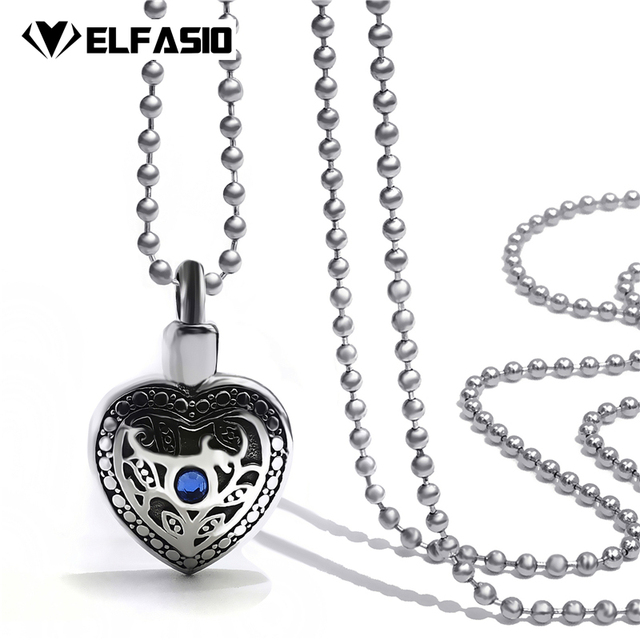 Women's Heart Blue CZ Cremation Keepsake Memorial Urn Stainless Steel Pendant Necklace Chain Jewelry UP030