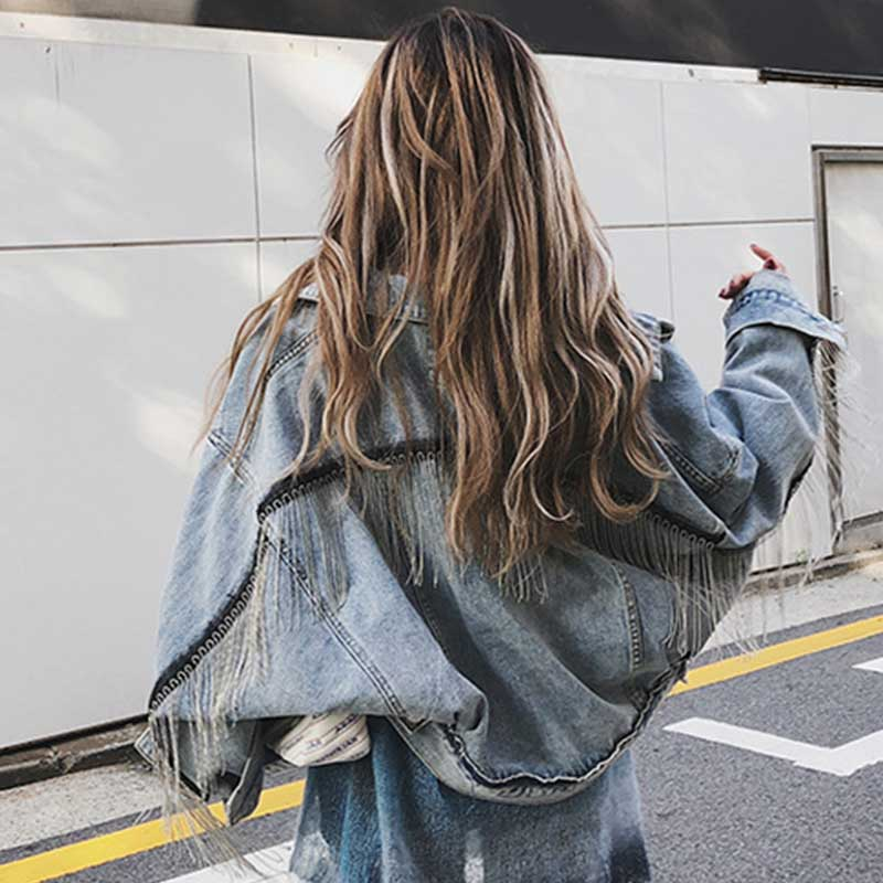 Women Fashion Punk Heavy Meatal Denim Jacket Tassel Light Blue Jeans Jacket Fringe Street Wear Loose