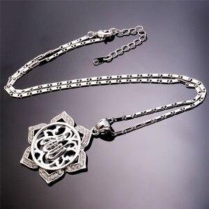 Image 5 - U7 Grote Bloem Islamitische Sieraden Goud Kleur Rhinestone Crystal Vintage Arabieren Allah Kettingen Voor Vrouwen Gift P328