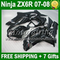 7gifts Body For KAWASAKI NINJA ZX6R 07 08 ZX 636 ALL Black ZX 6R 10JM118 HOT ZX 6R 07 08 2007 2008 ZX636 Fairing Glossy black